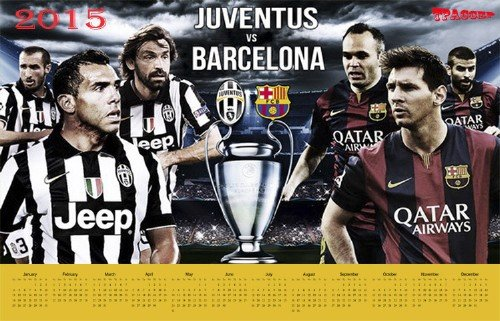 Настенный календарь на 2015 год - Лига чемпионов. Игра года. Барселона-Ювентус