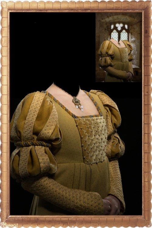 Старинный женский наряд - шаблон для фотошопа