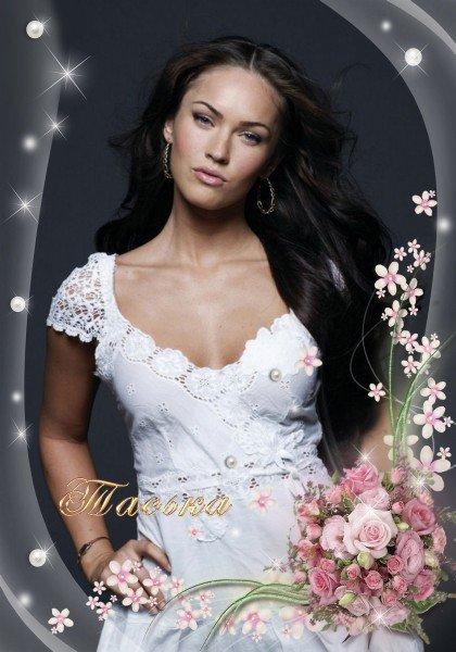 Фоторамка - нежные розовые розы