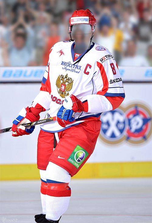 Хоккеист россии - шаблон для фотошопа