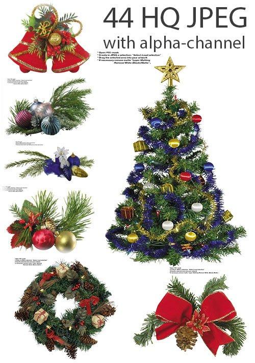 Свеги к рождеству, ёлочки, шарики и дождик (с альфа-каналом)