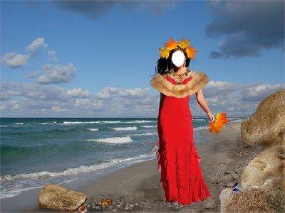 Шаблон Царица осень у моря