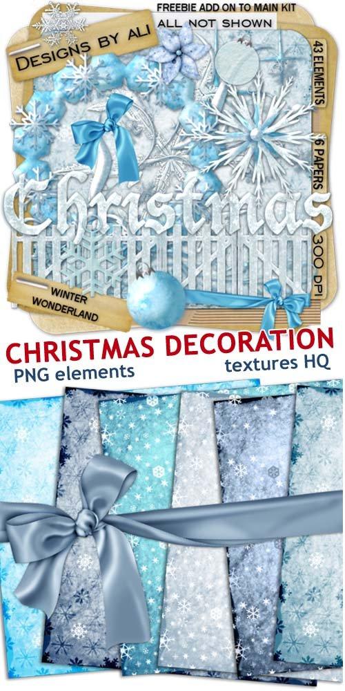 Вырезанные детали к рождественским праздникам - ленточки и шарики (scrap)