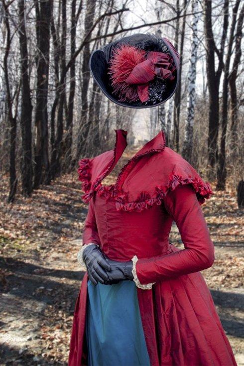 женский старинный наряд - шаблон для ФШ