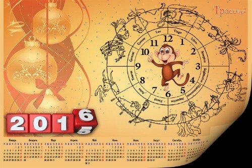 Шуточный календарь 2016 - огненная обезьяна и знаки зодиака