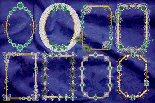 Клипарт Вырезы и рамки винтажные с изумрудами