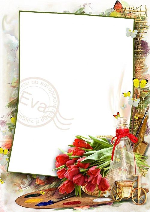 Рамочка для фотошоп - Весенние яркие краски