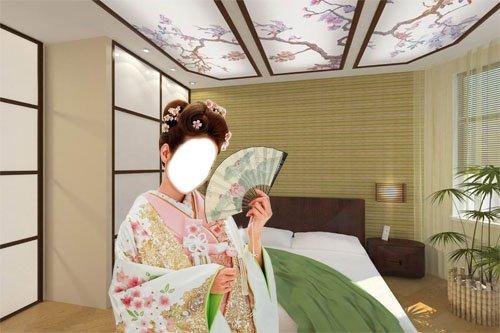 Шаблон Девушка в кимоно в японском интерьере