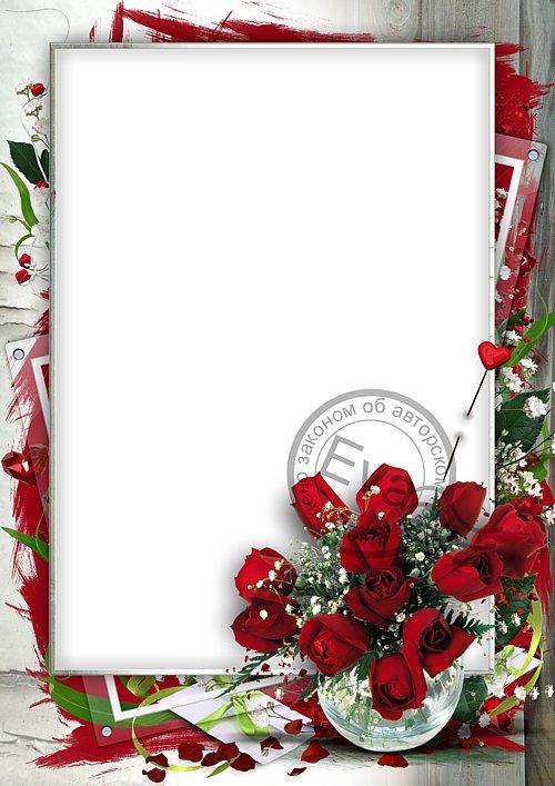 Рамка для фотошоп - Шикарные розы