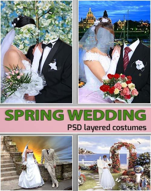 Весенние шаблоны для жениха и невесты (costumes psd)