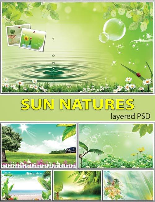 Дизайнерские подложки лучей солнца и в каплях росы (layered psd)