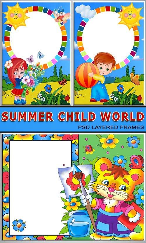 Веселые дети летом рисуют (album psd)