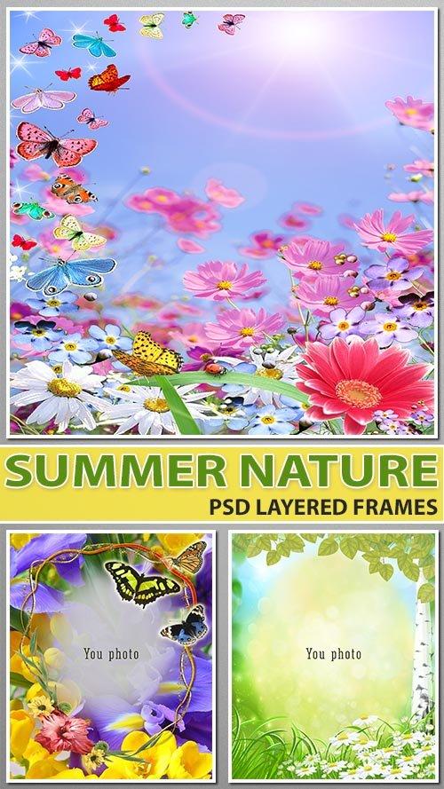 Яркие цветочные рамочки - живая природа (psd layered)