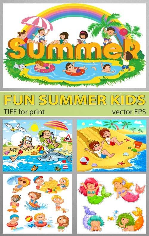 Детские игры на пляже в море (EPS vector)