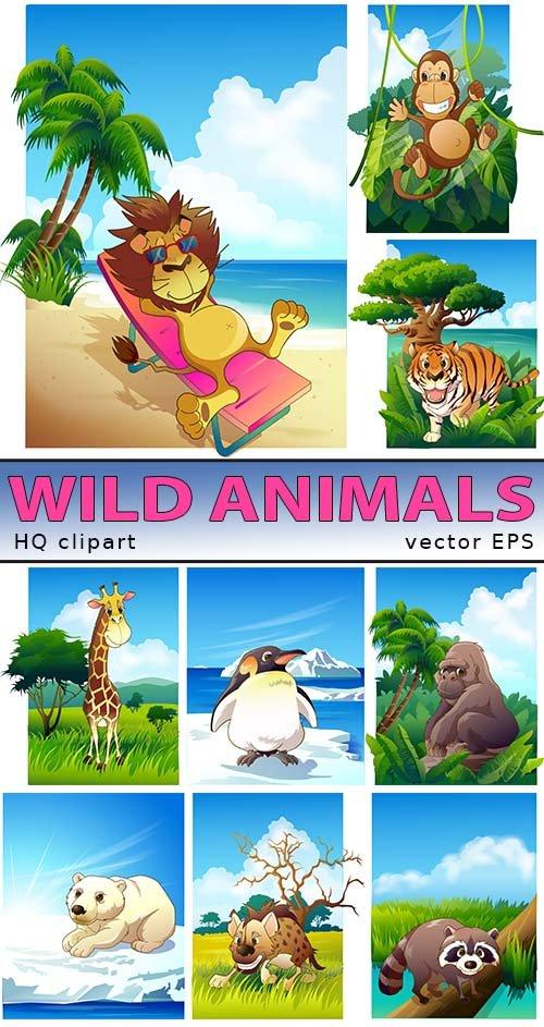 Веселые звери - обезьяны и горилы (EPS vector)