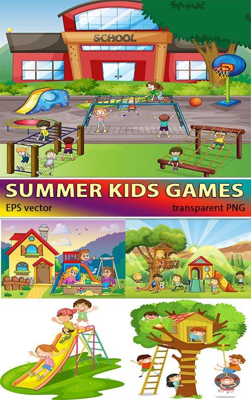 Летом игры мальчиков и девочек (вектор)