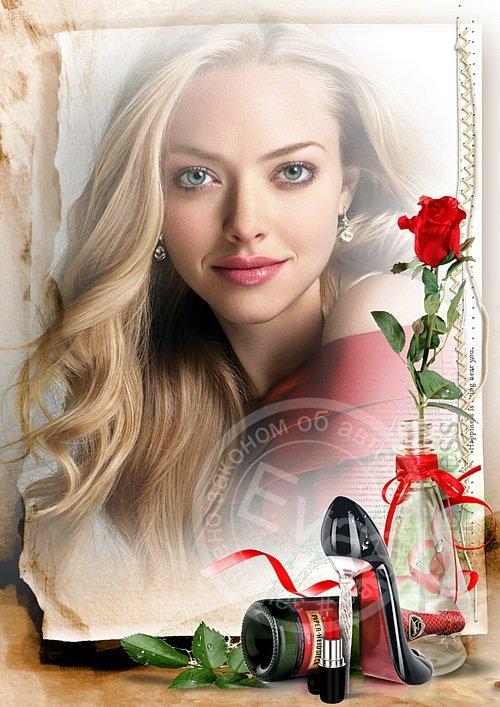 Рамочка для фотошоп - Эта красная роза
