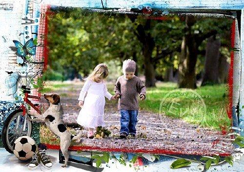Детская рамочка для фотошопа - Играем во дворе