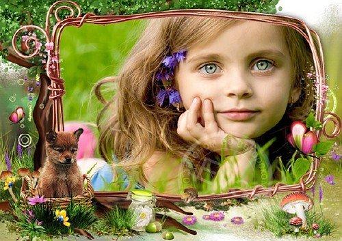 Детская фоторамка - Щенок в корзинке