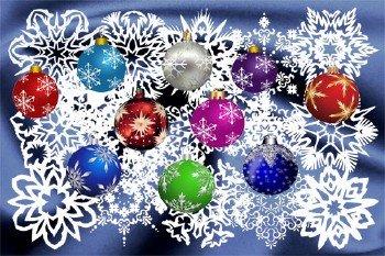 Клипарт Новогодняя подборка из снежинок и шариков