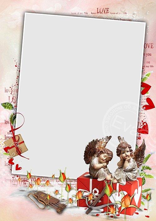 Рамочка для фотошоп - Амуры и День Святого Валентина